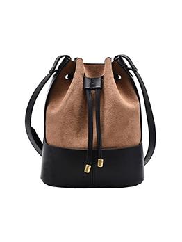Drawstring Contrast Color Matt Bucket Bag