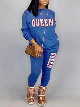 Letter Printed Solid Plus Size Two Piece Sets