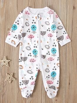 Printing Zipper Up Long Sleeve Baby Sleepsuit