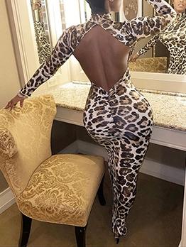 Leopard Print Backless Long Sleeve Maxi Dress