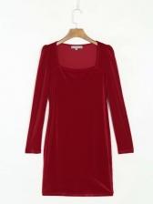 Square Neck Solid Long Sleeve Velvet Dress