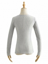Low Cut Pure Color Long Sleeve Skinny T-Shirt