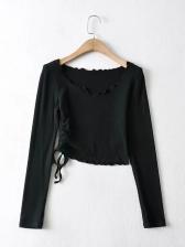 Stringy Selvedge V Neck Long Sleeve T-Shirt