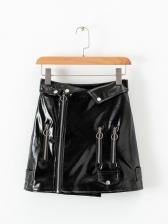 Chic Style High Waist Black Pu A-Line Skirt