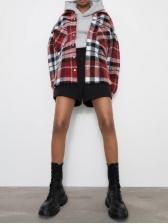 Pockets Loose Long Sleeve Plaid Corduroy Shirt