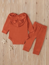 Casual Pure Color Hooded Rompers With Long Pants
