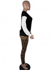 Contrast Color Leopard Patchwork Two Piece Outfits