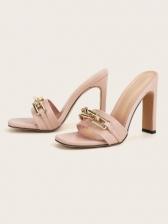 Euro Square Toe Chain Decor Heeled Ladies Slippers