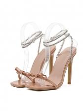Trendy Square Toe Rhinestone Bow Heel Sandal