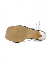 New Arrival Square Toe Color Block Bandage Sandals