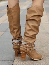 Fashion Rhinestone Decor Mid-Calf Female Boots