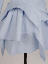 Elegant Solid Turn-Down Collar Long Sleeve Dress