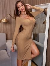 Sexy V Neck Slim Long Sleeve Dress Solid