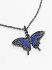 Temperament Rhinestone Butterfly Pendant Necklace