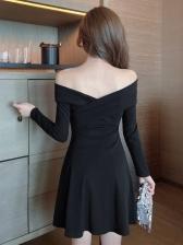 Club Black V Neck Long Sleeve Dress