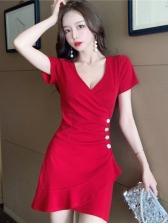 Korea Solid Short Sleeve Dress Club