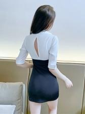 Club Deep V Neck Half Sleeve Dress