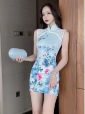 New Lace Print Sleeveless Mini Dress