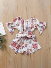 Summer Flower Print Girl Romper