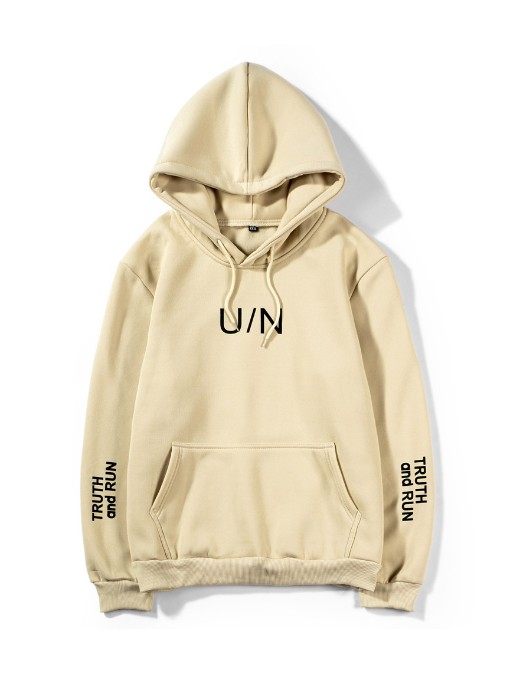 Grunge Style Khaki Loose Pullover Hoodie