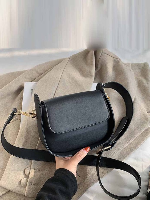 French Style Stone Pattern Wide Strap Shoulder Bag