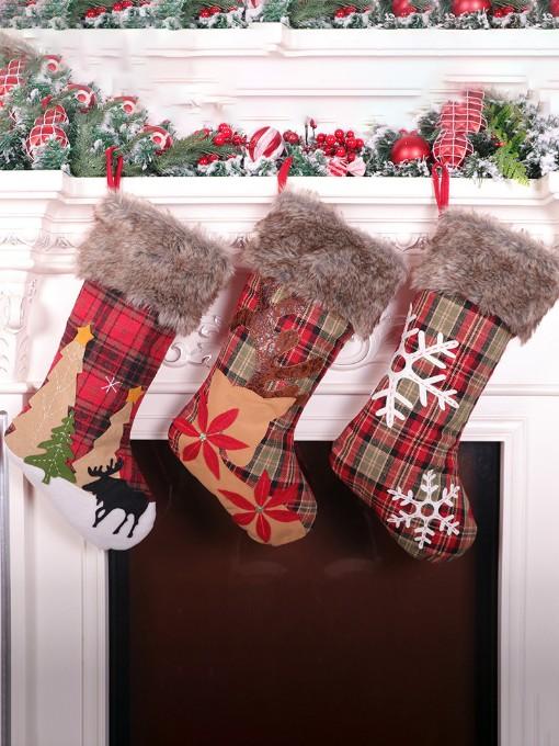 Contrast Color Christmas Sock Gift Bag