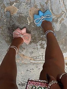 Gauze Bowknot Rhinestone Pointed Toe Ladies Heels