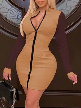 Zipper Up Contrast Color Plus Size Dresses