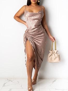 Sexy Print Drawstring Backless Sleeveless Dress