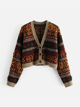 Stylish Color Block Printed Cardigan For Women