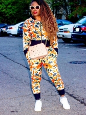 Colorful Print Two Piece Jacket Set For Women