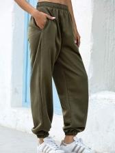 Leisure Solid Elastic Waist Track Pants