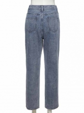 Stylish Color Patch Houndstooth Straight Jeans