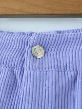 Pure Color Straight Corduroy Cargo Pants