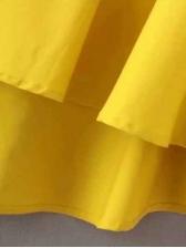 Ruffled Hem Turndown Neck Long Sleeve Dress