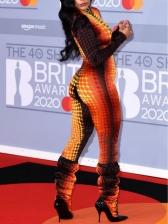 Fashion Geometry Printed Women Long Sleeve Jumpsuit