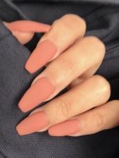 Matte Orange Simple False Nails Patch