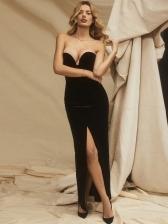 Sexy Black Strapless Sleeveless Maxi Dress
