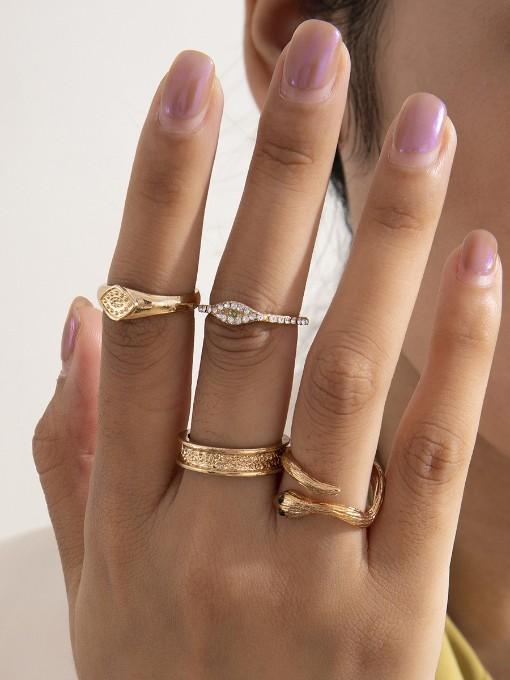 Simple Fashion Irregular Design Vintage Ring Set
