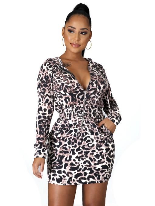 Leopard Print Casual Long Sleeve Bodycon Dress
