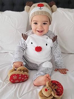 Lovely Christmas Elk Print Sleepsuit Sets For Baby