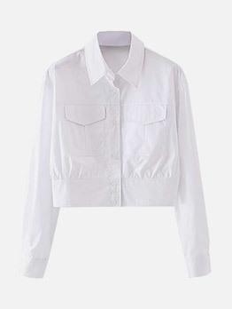Autumn White Long Sleeve Blouse Coat