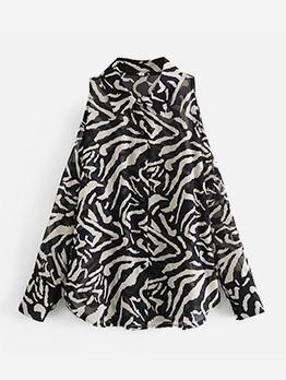 Sexy Striped Cold Shoulder Chiffon Blouse
