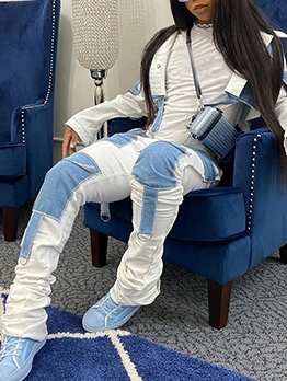 Stylish Color Block Stacked Denim 2 Piece Outfits