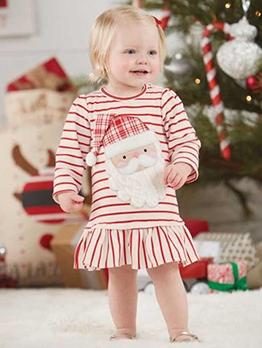 Christmas Santa Print Striped Long Sleeve Girls Dress