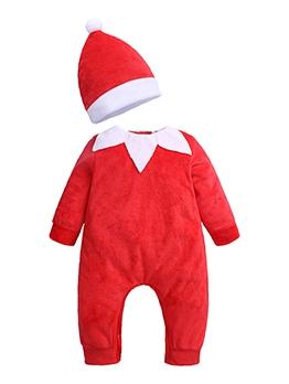 Lovely Collar Red Long Sleeve Red Romper For Christmas