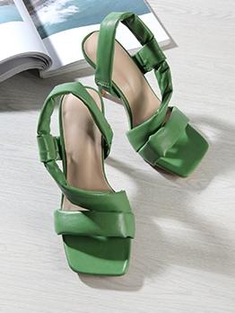 Square Toe Solid High Heel Ladies Sandals
