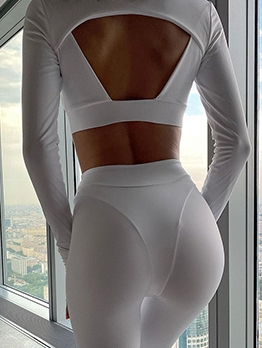 Pure Color Backless Skinny Two Piece Sets