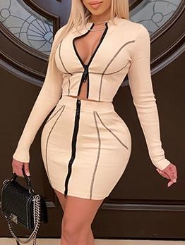 Sexy Zipper Two Piece Skirt Set