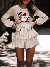 Christmas Santa Claus Printed Tie-Wrap Ladies Dress